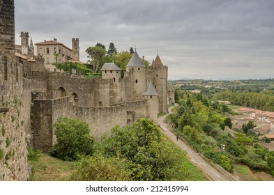 FRANCE CARCASSONE SEP 2013: view towers of castle Carcassone on 8 September 2013. The fortified city consists of a concentric design with two outer walls with 53 towers to prevent attack