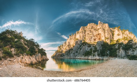 France, Cassis. Panorama Of Beautiful Nature Of Calanques On The Azure Coast Of France At Morning Sunrise Time. Coast The En Vau Near In South France. Mediterranean Sea.