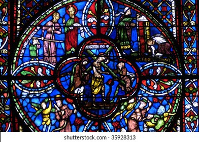 France, cathedral of Bourges, stained glass window