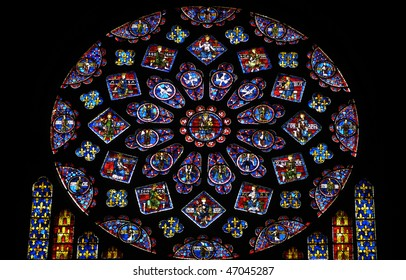 France, cathedral of Chartres, stained glass window