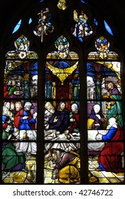 France, church Saint Martin of Triel, stained glass window