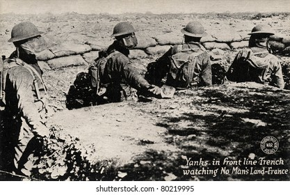FRANCE - CIRCA 1900: Yanks in Front Line Trench - Early 1900 postcard depicting Yanks in front line trench watching 'No Man's Land' during WWI in France, circa 1914-1918.