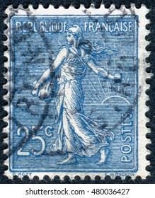 FRANCE - CIRCA 1903: A stamp printed in France, depicts a sower, circa 1903