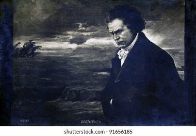 FRANCE - CIRCA 1905: Postcard printed in France shows composer Ludwig van Beethoven, circa 1905