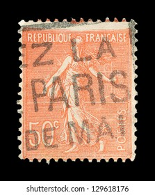 FRANCE - CIRCA 1906: A stamp printed in France shows marianne sowing, symbolizes France , circa 1906