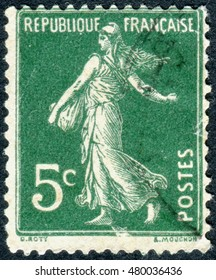 FRANCE - CIRCA 1933: A stamp printed in France, depicts a sower, circa 1933