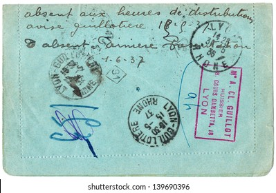 FRANCE - CIRCA 1937: An old used the French envelope reverse said sent to Lyon lotteries Association, rich stain and paper details. can be used as background; series, circa 1937