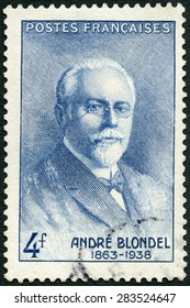 FRANCE - CIRCA 1942: A stamp printed in France shows Andre Eugene Blondel (1863-1938), physicist, circa 1942