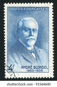 FRANCE - CIRCA 1942: stamp printed by France, shows Andre Eugene Blondel, circa 1942