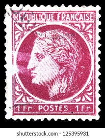 "FRANCE - CIRCA 1945: stamp printed in France, shows Ceres (In ancient Roman religion, Ceres was a goddess of agriculture), without inscription, from the series ""Ceres"", circa 1945"