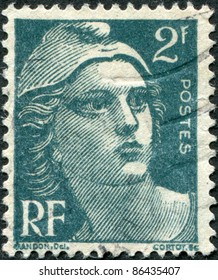 FRANCE - CIRCA 1945: A stamp printed in France, depicts Marianne is a national emblem of France, circa 1945