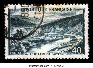 FRANCE - CIRCA 1949: stamp printed by France, shows green Meuse Valley, Ardennes, circa 1949