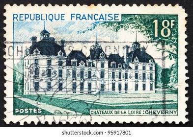FRANCE - CIRCA 1954: A stamp printed in the France shows Cheverny Chateau, circa 1954