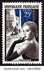 FRANCE - CIRCA 1955: a stamp printed in the France shows Glove Model in Place de la Concorde, Paris, French Glove Manufacturing, circa 1955