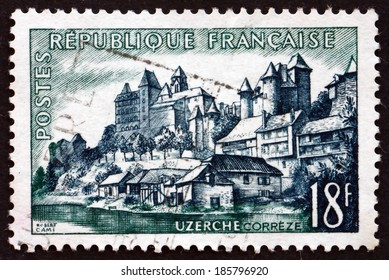 FRANCE - CIRCA 1955: a stamp printed in the France shows View of Uzerche, Commune in the Correze Department of the Limousin Region, circa 1955
