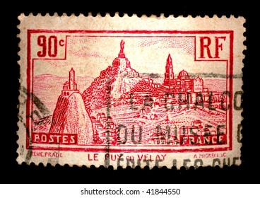 FRANCE - CIRCA 1955: A stamp printed in France shows landscape of Le Puy en Velay, series, circa 1955