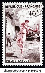 FRANCE - CIRCA 1956: a stamp printed in the France shows Basque Pelota, Jai Alai, Team Sport, circa 1956