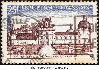 "FRANCE - CIRCA 1957: A stamp printed in France from the ""Tourist Publicity"" issue shows Chateau de Valencay, circa 1957."