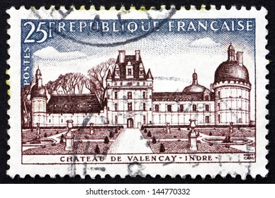 FRANCE - CIRCA 1957: a stamp printed in the France shows Chateau de Valencay, Indre, circa 1957
