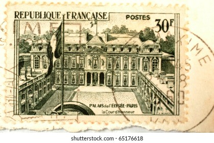 FRANCE - CIRCA 1959: A 30 franc stamp (Scott 2008 907) printed in France shows image of Elysee Palace, circa 1959