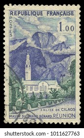 France - circa 1960: Stamp printed by France, Color edition on Tourism, shows Cilaos Church Grand Massif Benard, circa 1960