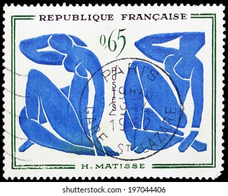 FRANCE - CIRCA 1962: stamp printed in France, shows shows a painted picture of Henri Matisse--Blue Nude, circa 1962