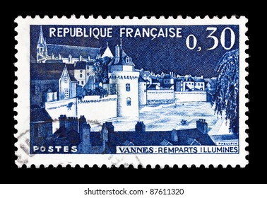 FRANCE - CIRCA 1962: A stamp printed in France shows Ramparts of Vannes, circa 1962.