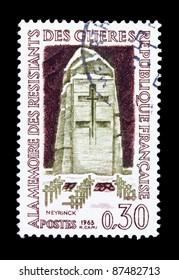 FRANCE - CIRCA 1963: A stamp printed in FRANCE shows Cemetery and Memorial, Glieres (Memorial, Ile de la Cite , Paris), circa 1963.