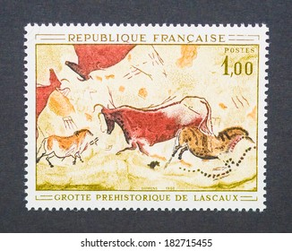 FRANCE - CIRCA 1968: a postage stamp printed in France showing an image of the Lascaux paleolithic paintings, circa 1968.