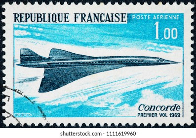 FRANCE - CIRCA 1969: A stamp printed in France shows First flight of the concorde