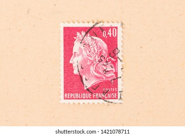 FRANCE - CIRCA 1970: A stamp printed in France shows portrait of a woman, known as Liberty, after Eugene Delacroix, circa 1970