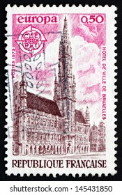 FRANCE - CIRCA 1973: a stamp printed in the France shows View of City Hall, Brussels, circa 1973