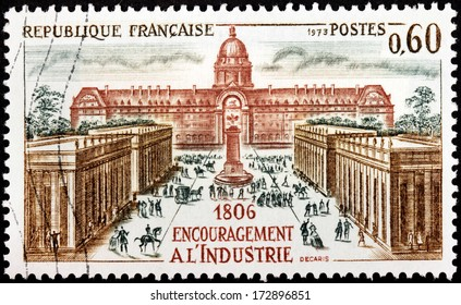 FRANCE - CIRCA 1973: A stamp printed by FRANCE shows view of The National Residence of the Invalids in Paris (Les Invalides), circa 1973