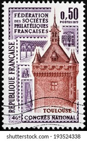 FRANCE - CIRCA 1973: A stamp printed by France shows Tower in Toulouse, French Philatelic Societies Congress, circa 1973