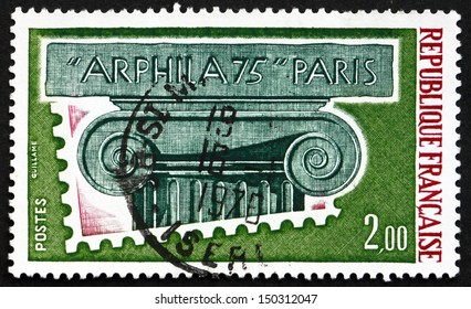 FRANCE - CIRCA 1975: a stamp printed in the France shows Ionic Capital, ARPHILA 75, International Philatelic Exhibition, circa 1975