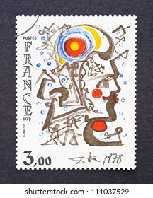 FRANCE - CIRCA 1979: A postage stamp printed in France showing a drawing by Salvador Dali, circa 1979.