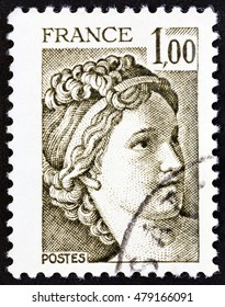 "FRANCE - CIRCA 1979: A stamp printed in France from the ""Kidnapping of the Sabines"" issue shows Sabine painting by Jacques-Louis David, circa 1979."