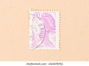 FRANCE - CIRCA 1980: A stamp printed in France shows portrait of a woman, known as Liberty, after Eugene Delacroix, circa 1980
