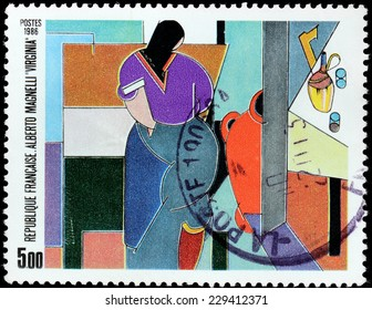 FRANCE - CIRCA 1986: A stamp printed by FRANCE shows painting Virginia by famous Italian modern painter Alberto Magnelli, circa 1986