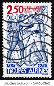 FRANCE - CIRCA 1988: a stamp printed in the France shows Alpine Troops, Centenary, circa 1988