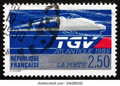 FRANCE - CIRCA 1989: a stamp printed in the France shows TGV Atlantic, High-speed Train, circa 1989