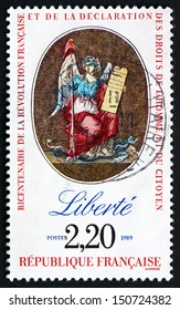 FRANCE - CIRCA 1989: a stamp printed in the France shows Liberty, Bicentenary of the French Revolution and the Declaration of Rights of Man and Citizen, circa 1989