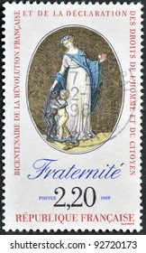 FRANCE - CIRCA 1989: A stamp printed in France in commemoration of the bicentennial of the French Revolution and the Bill of Rights of Man and Citizen, circa 1989