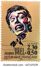 FRANCE - CIRCA 1990: A stamp printed by FRANCE shows image portrait of a famous Belgian singer-songwriter Jacques Brel, circa 1990.