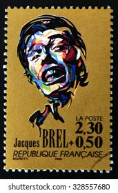 FRANCE - CIRCA 1990: A stamp printed in France shows portrait of Jacques Brel, circa 1990.