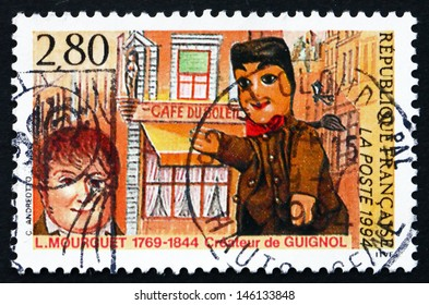 FRANCE - CIRCA 1994: a stamp printed in the France shows Laurent Mourguet, Creator of Puppet, Guignol, circa 1994