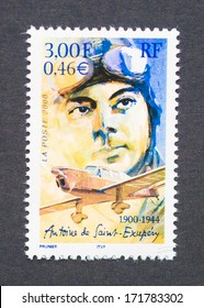 FRANCE - CIRCA 2000: a postage stamp printed in France showing an image of Antoine de Saint-Exupery, circa 2000.