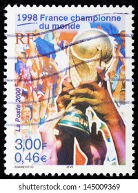 FRANCE - CIRCA 2000: A stamp printed in France shows France championne du monde,1998,  circa 2000