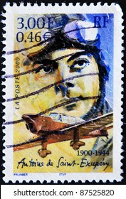 FRANCE - CIRCA 2000: A stamp printed in France shows the author of The Little Prince, Antoine de Saint-Exupéry, circa 2000