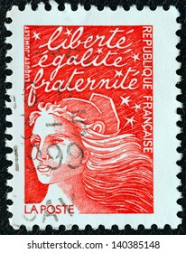 FRANCE - CIRCA 2001: A stamp printed in France shows Marianne type Luquet, circa 2001.